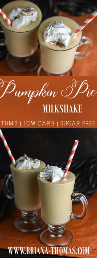 This Low-Carb Pumpkin Pie Milkshake is super creamy thanks to a secret ingredient (not okra this time)! THM:S, sugar free, gluten/egg/nut free