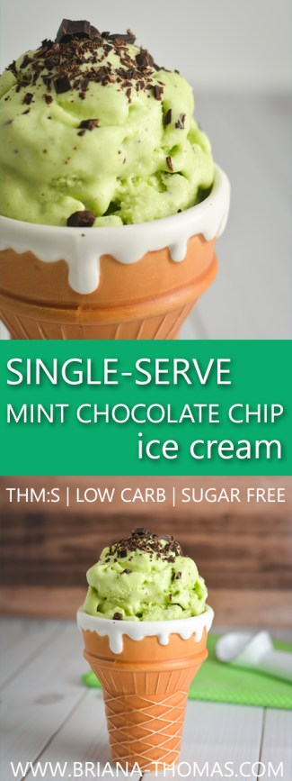 Single-Serve Mint Chocolate Chip Ice Cream - no ice cream maker required! THM:S, low carb, sugar free, gluten free, egg free, nut free