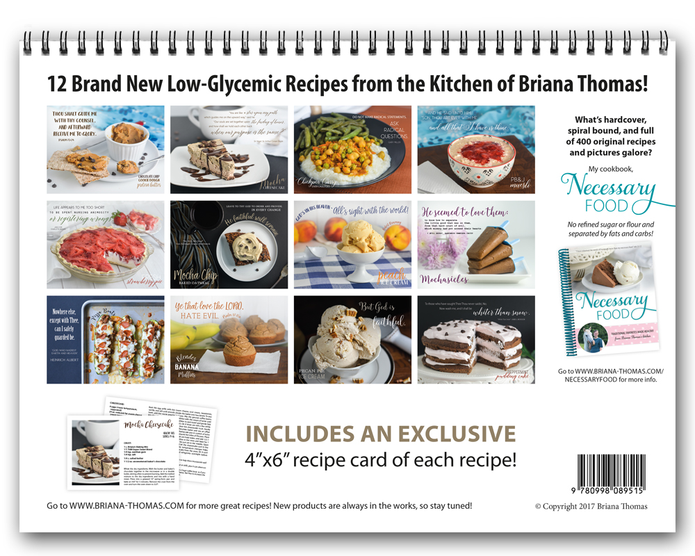 Necessary Time includes 12 new low-glycemic recipes from Briana Thomas! Exclusive recipe cards, mouthwatering pictures, and great quotes!