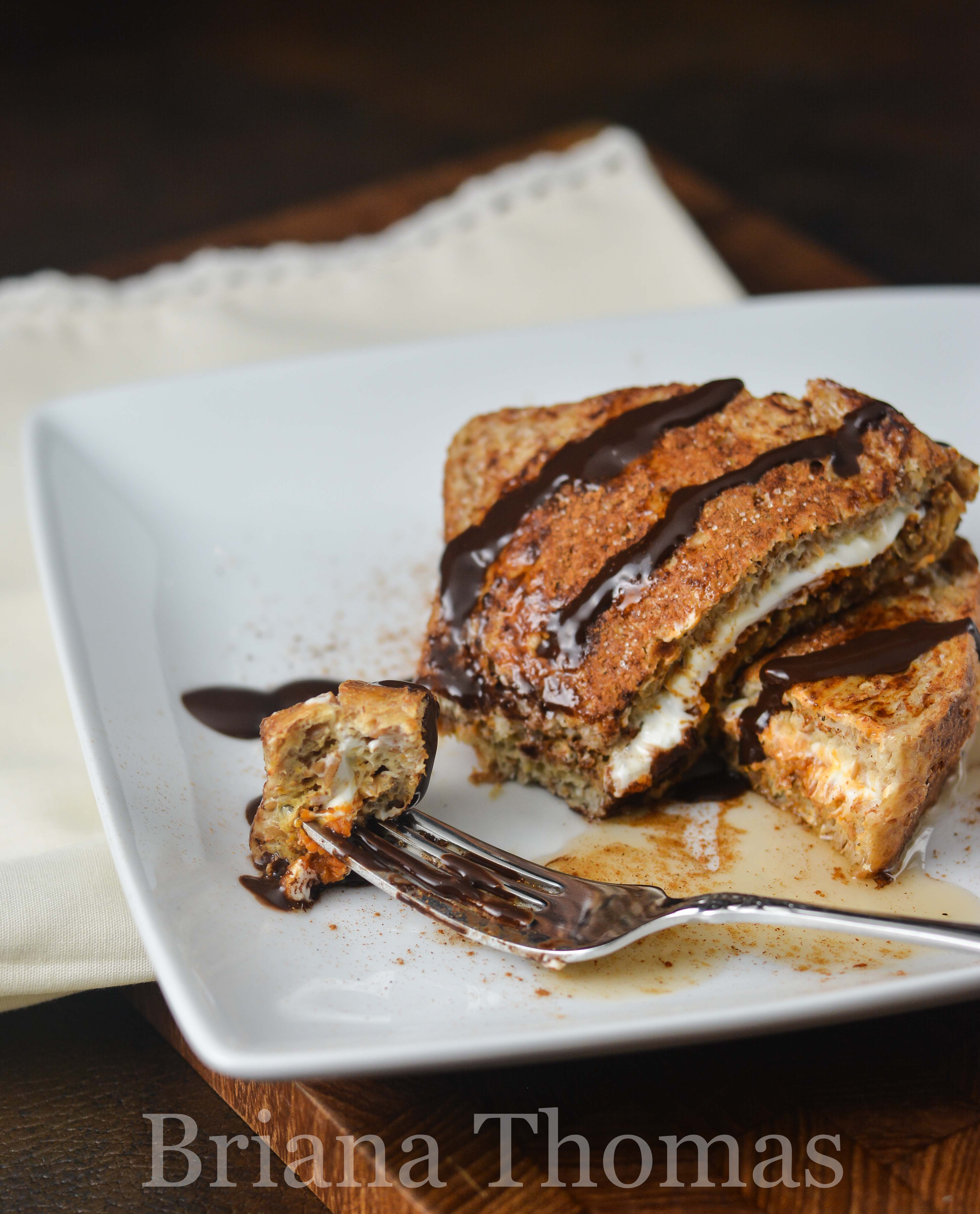 This special Pumpkin Stuffed French Toast is quick and easy to make but tastes (and looks) gourmet! THM:E, low fat, sugar free