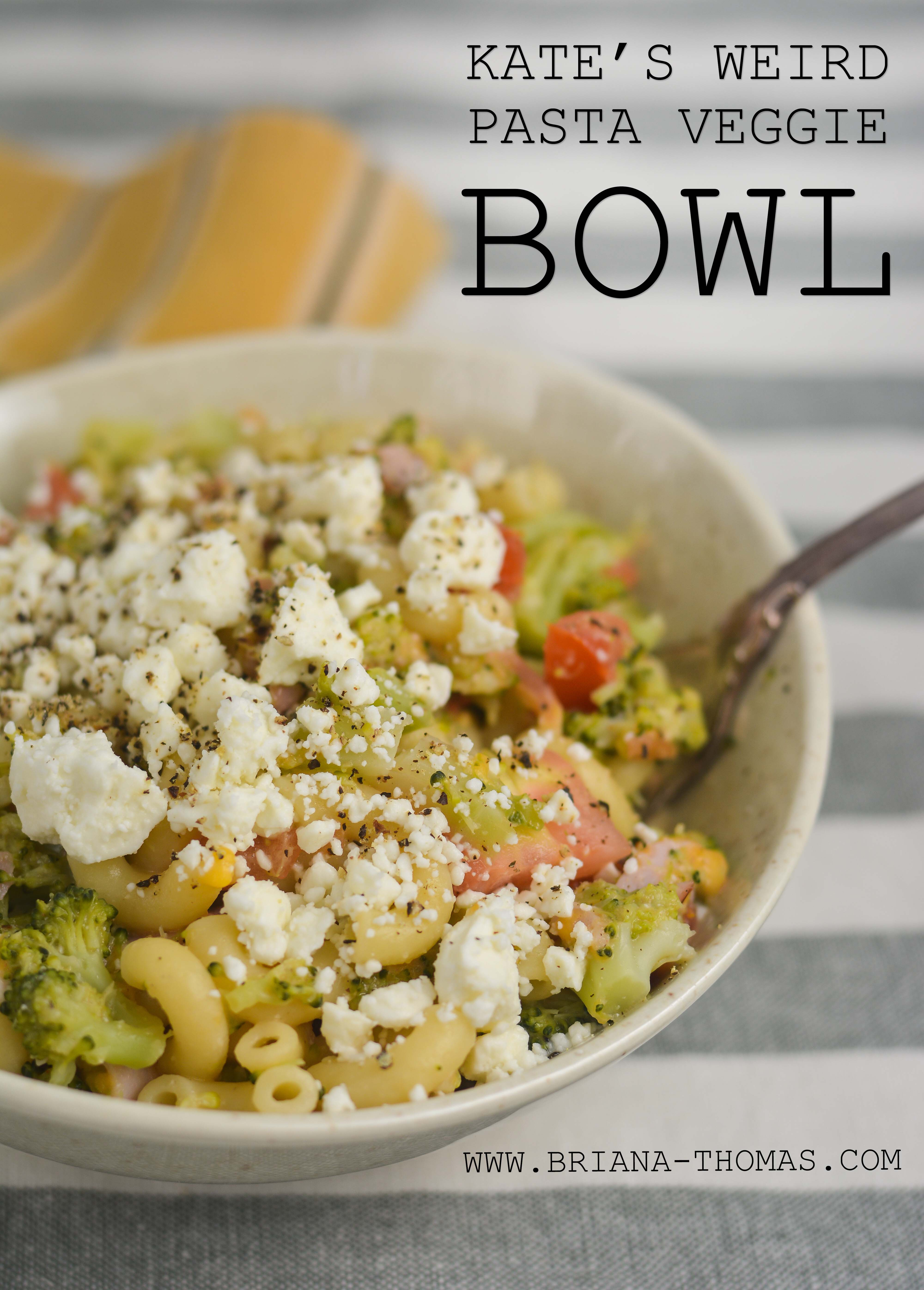 Here's a unique lunch for you! I call this single-serve concoction Kate's Weird Pasta Veggie Bowl because a) my little sister Katelyn came up with it, and b) it's a little strange. But it tastes so good and gives you the pasta fix along with some great veggies! THM S