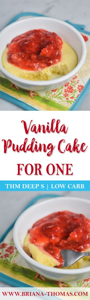 This soft Vanilla Pudding Cake for One is an amazingly delicious low-carb, THM Deep S dessert! Sugar/gluten/dairy/nut free and perfect for THM Fuel Cycles!