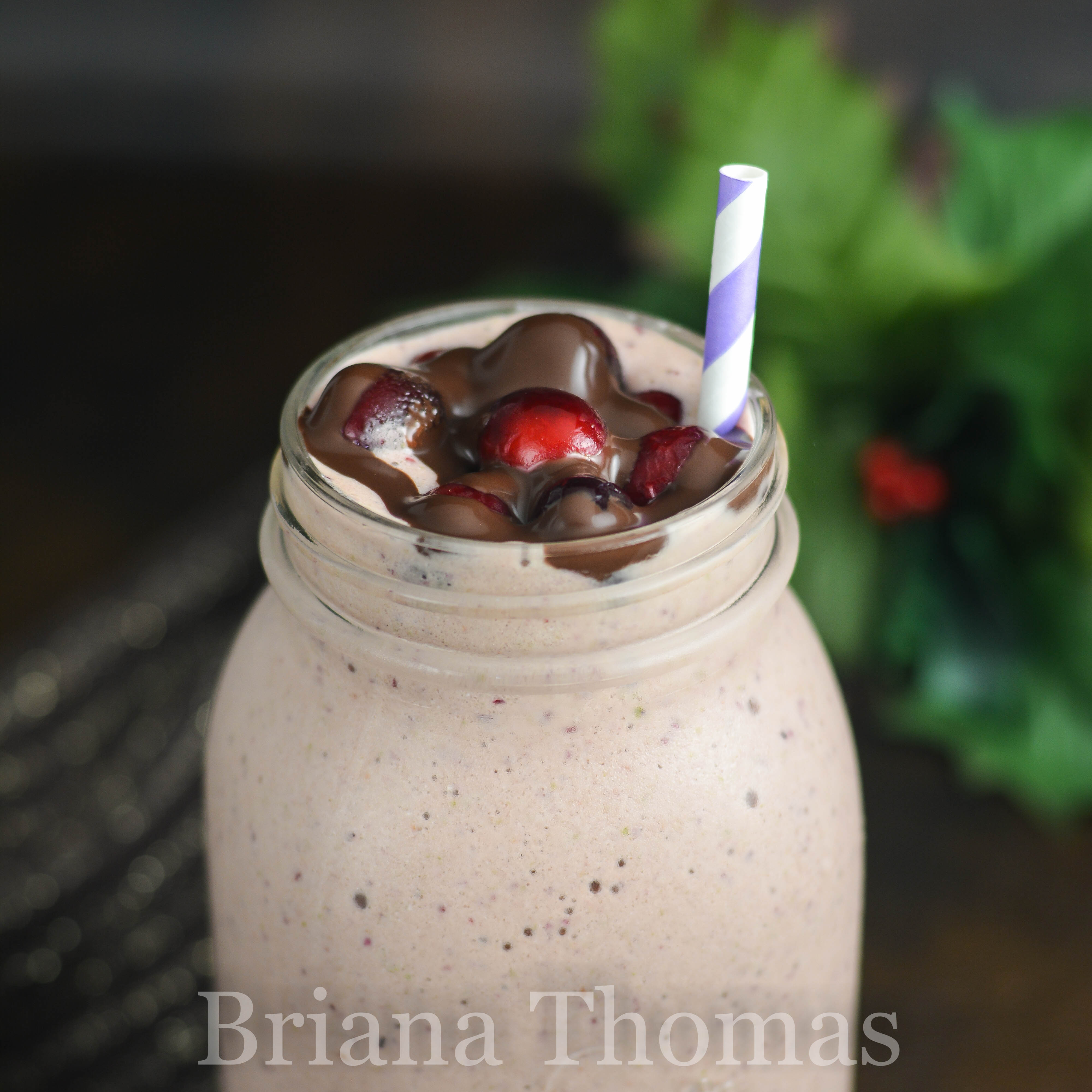This Chocolate-Covered Cranberry Superfood Shake is straight up HEALTH in a Mason jar! A tasty way to get your okra in. THM Fuel Pull, low carb, low fat