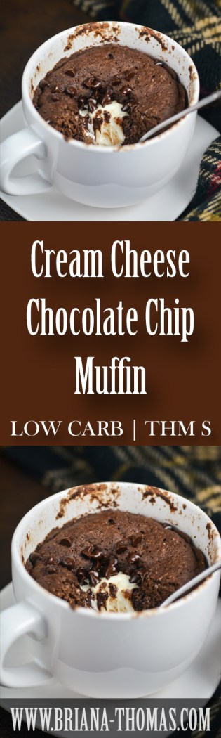 This Cream Cheese Chocolate Chip Muffin is my new favorite snack/dessert! Watch for a full-size version soon! THM:S, low carb, sugar free, gluten/nut free