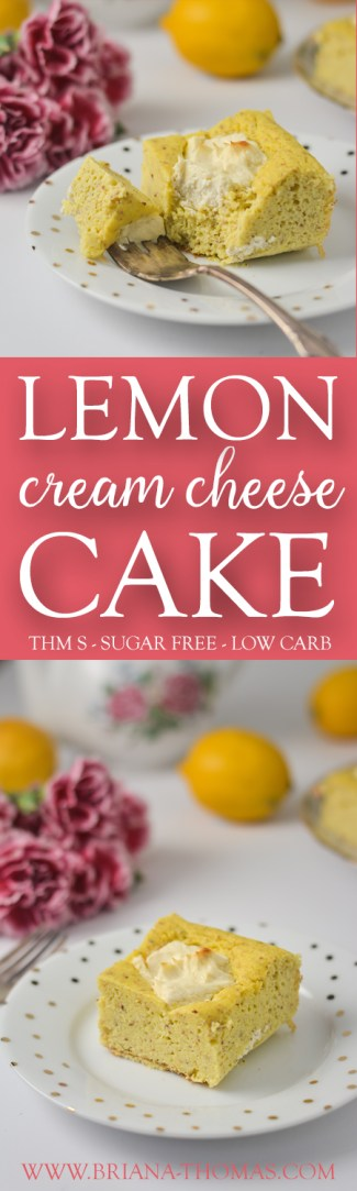 This Lemon Cream Cheese Cake is a delicious springtime version of my Cream Cheese Chocolate Chip Brownie Cake! With an amazing flavor AND an amazingly moist texture, this cake will be a great addition to your low carb, THM S, sugar free Easter menu! Gluten/nut free