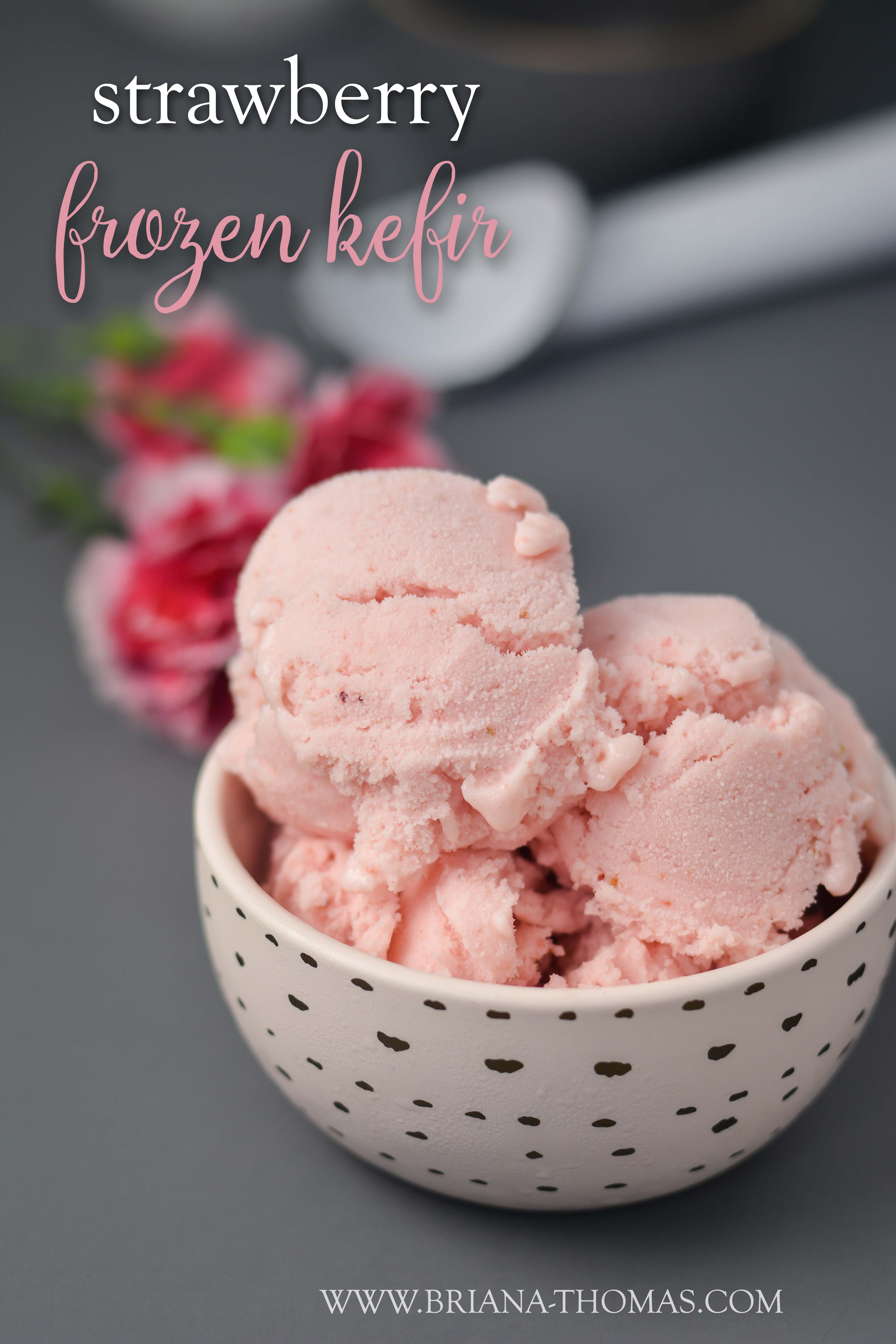 This Strawberry Frozen Kefir is so refreshing! Think ice cream with benefits! It can fit into a THM S, E, or Fuel Pull category depending what type of kefir you use. Sugar free, gluten/egg/nut free and possibly lactose free depending what brand of kefir you use! Low carb and low fat possibilities.