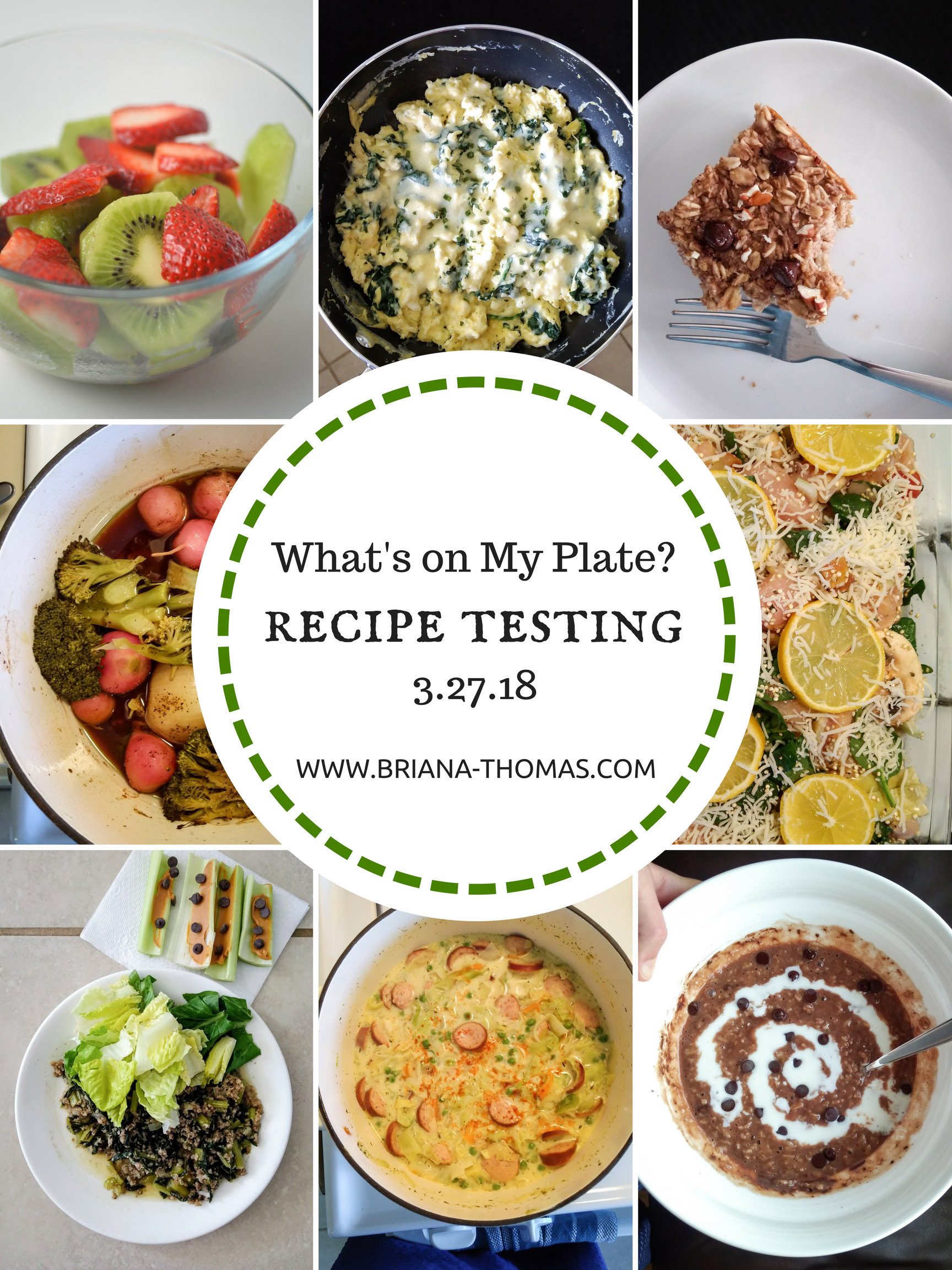 "I've been doing a lot of recipe testing for my next cookbook lately, and today's ""What's on My Plate?"" post will give you some sneak previews! Everything is Trim Healthy Mama friendly."