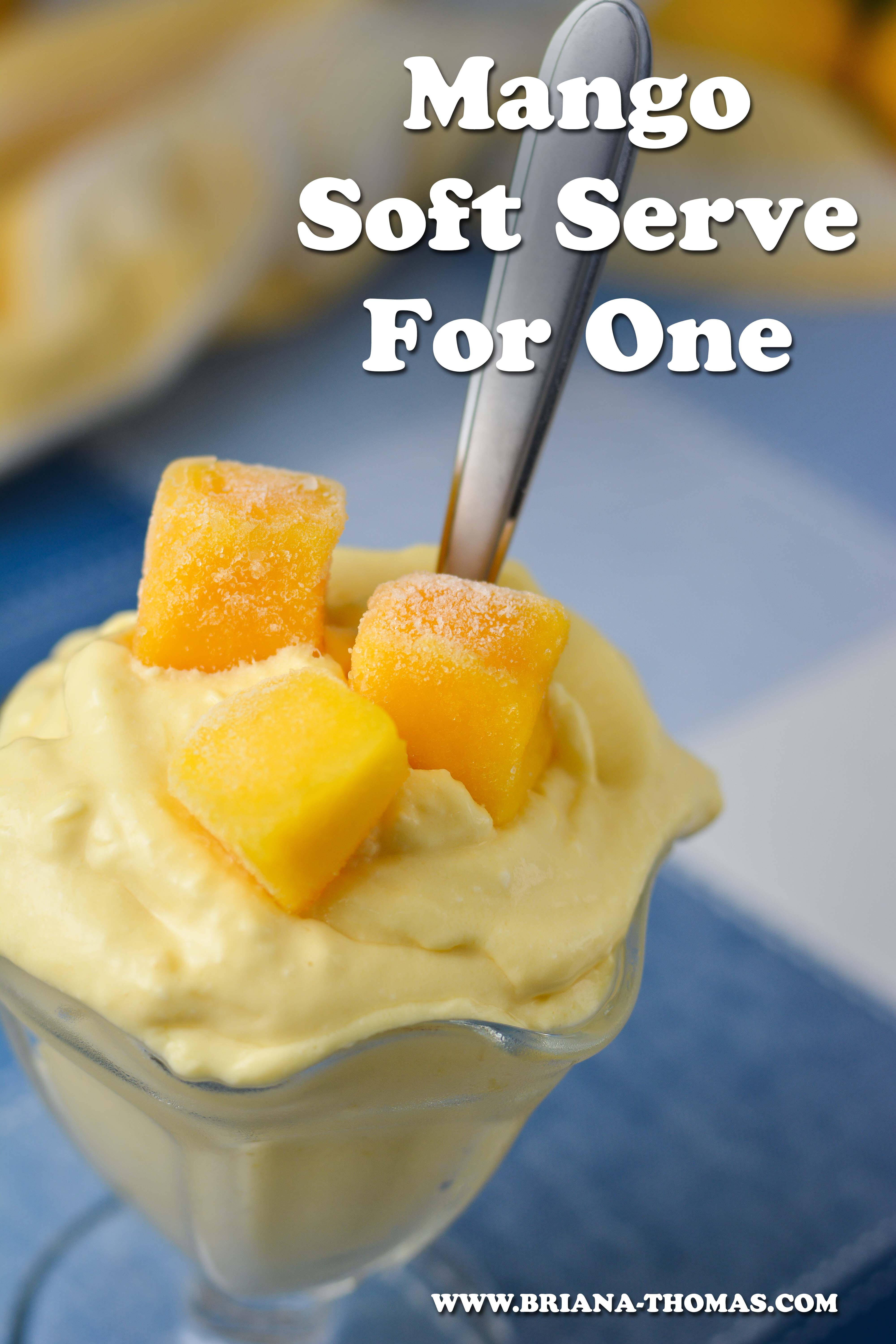 This Mango Soft Serve for One is so refreshing and creamy and full of protein, but it only takes 3 simple ingredients! You can even make it with an immersion blender! THM E, no sugar added, low fat, gluten free, egg free, nut free