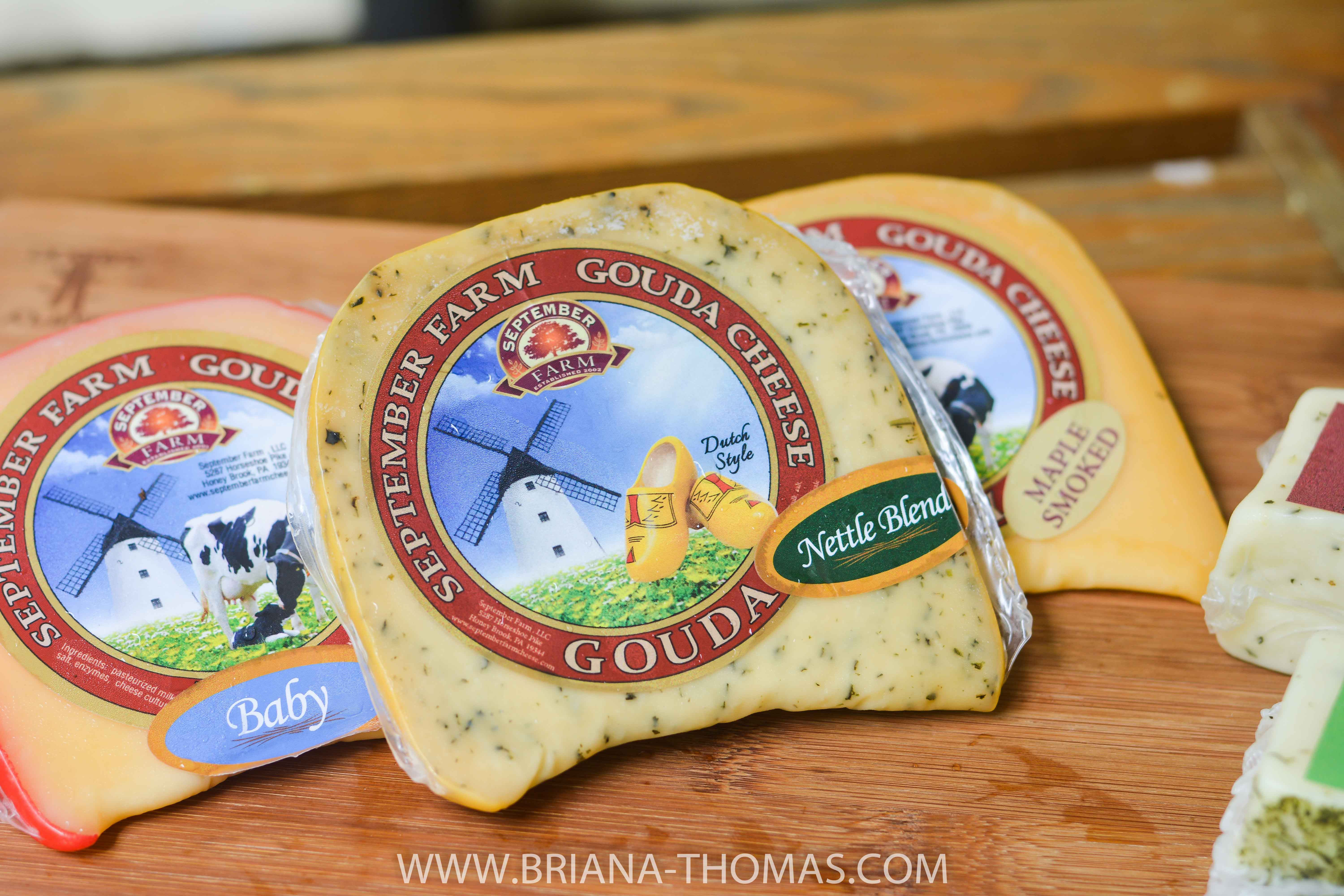 3 different types of handcrafted Gouda cheese from September Farm in Honey Brook, PA