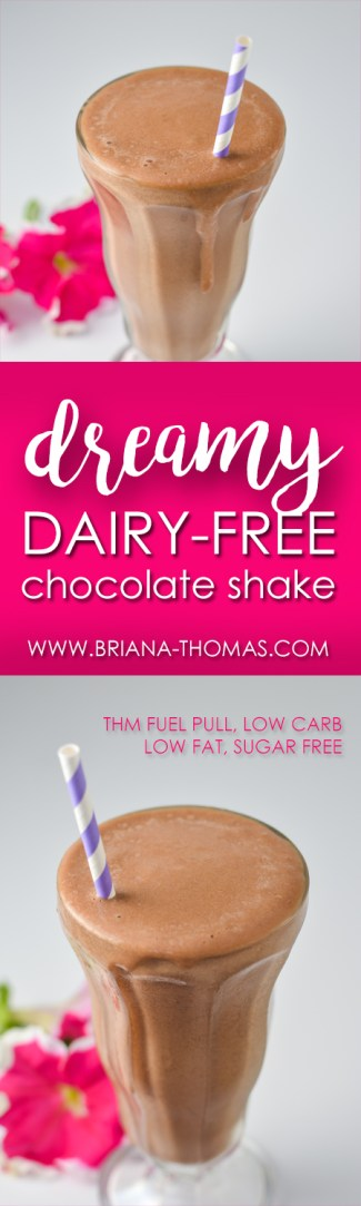 This Dreamy Dairy-Free Chocolate Shake is so creamy and delicious, but it's a THM Fuel Pull and low calorie! And it has a special secret ingredient that amps up the creaminess.... Low carb, low fat, sugar free, gluten free, egg free, dairy free, nut free option