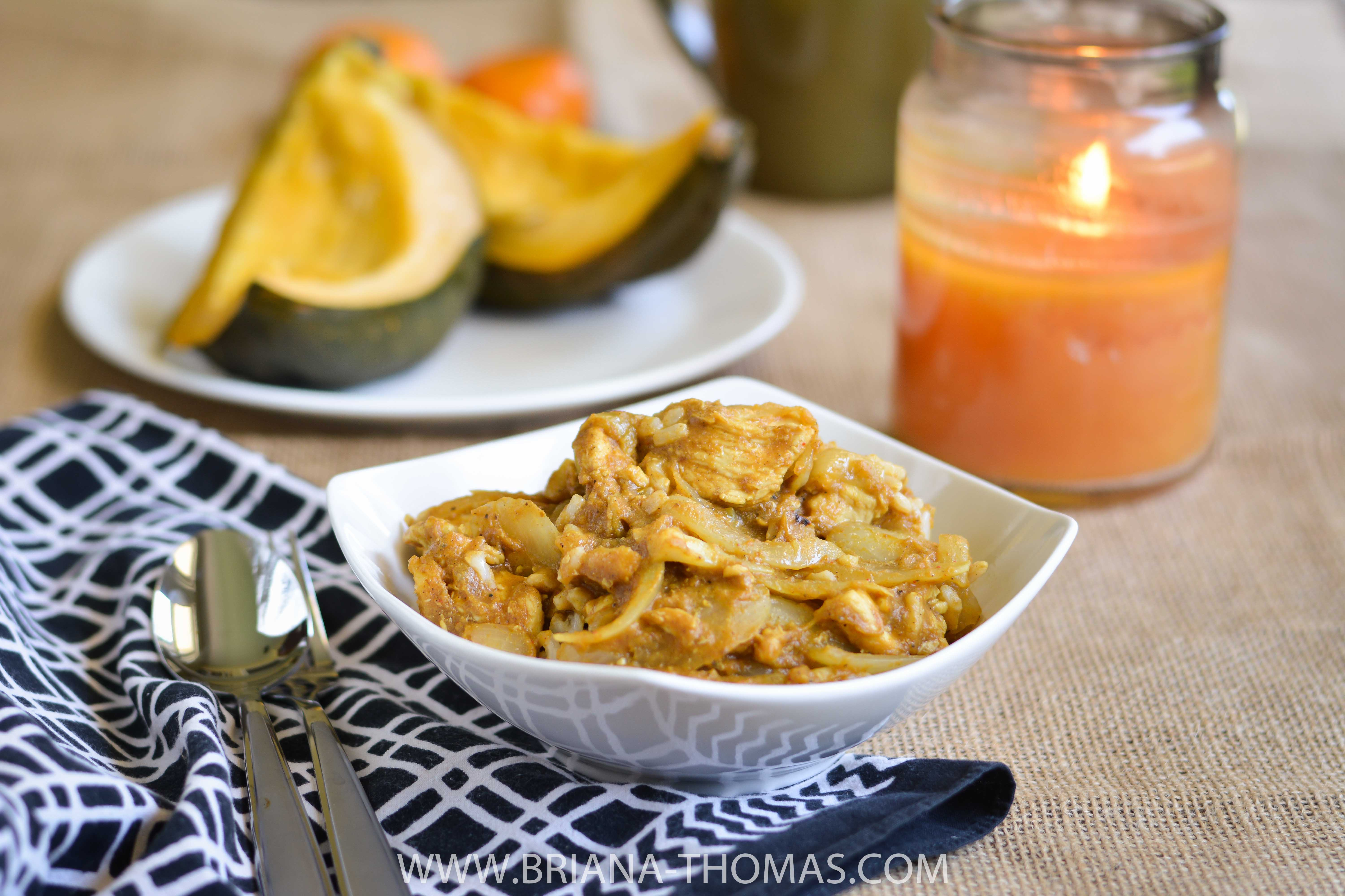 This Autumn Chicken Curry can be THM S, E, or FP! Pumpkin complements traditional coconut milk and Indian spices for a warming meal.