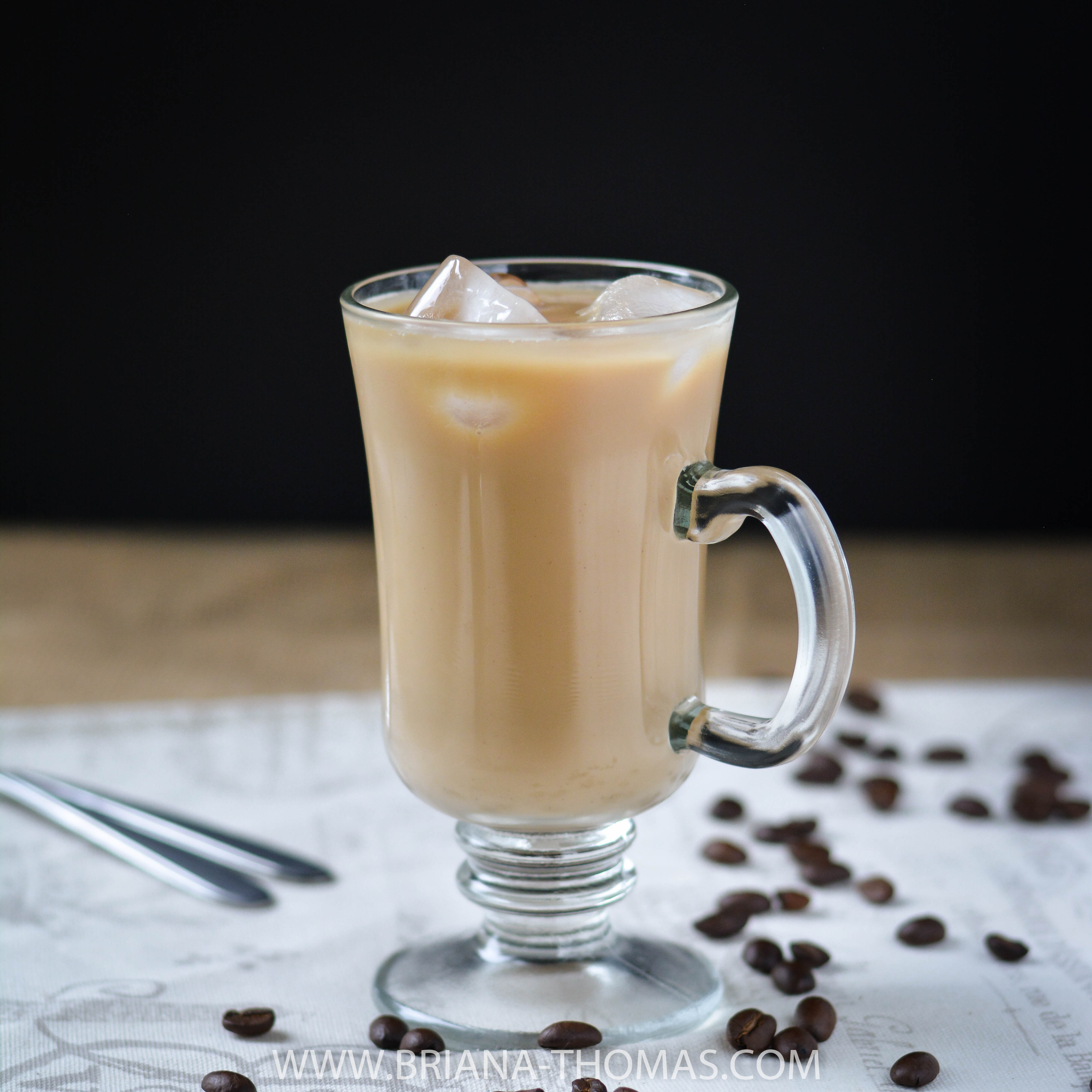This Refrigerator Iced Coffee is a healthy grab-and-go solution to your iced coffee habits! THM Fuel Pull, low carb, low fat, allergy friendly options