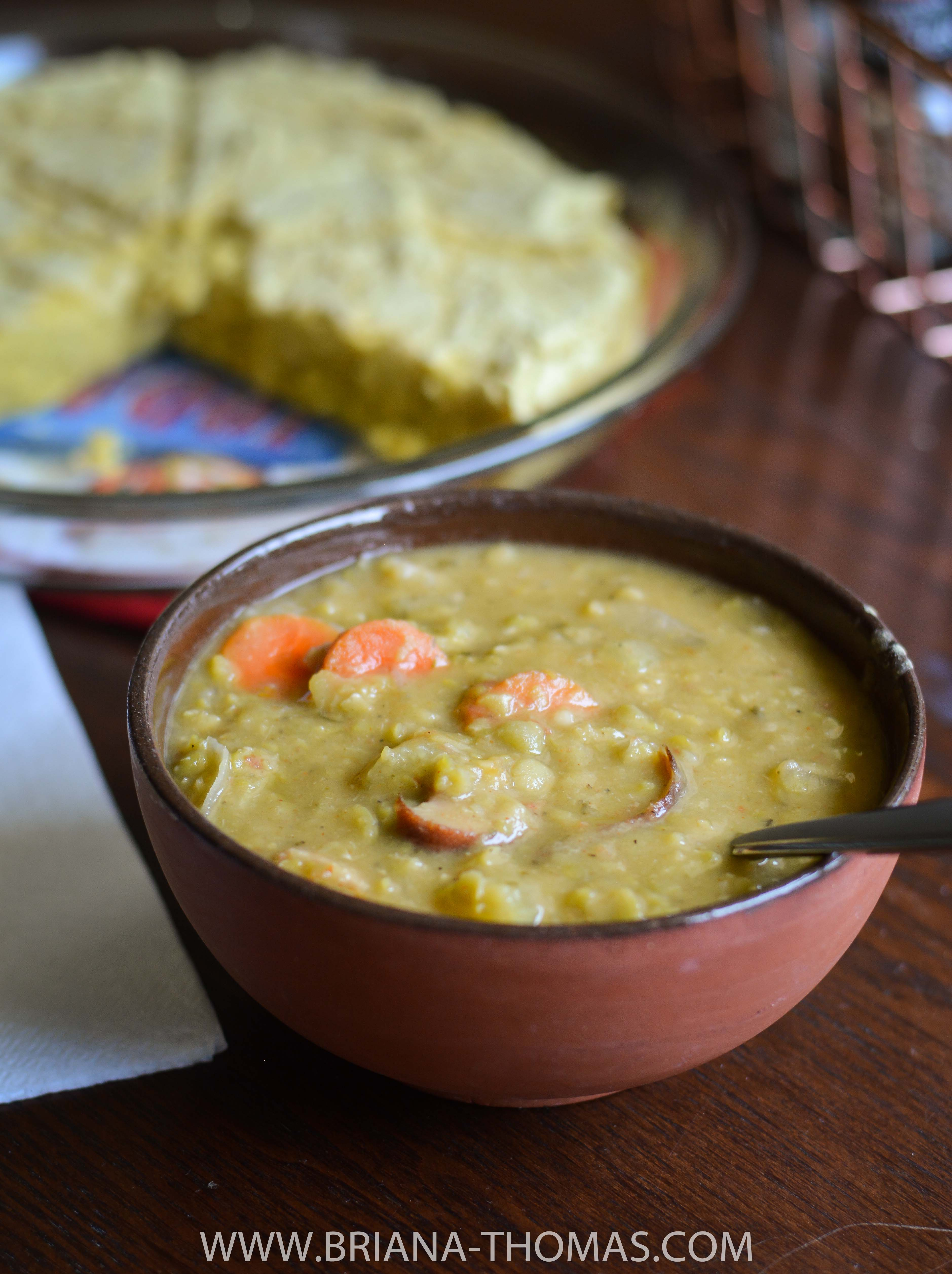 This Split Pea Soup is a super easy slow cooker comfort food meal that pairs perfectly with cornbread for a THM E dinner. Low fat, gluten/egg/dairy/nut free