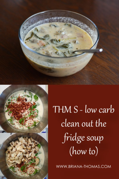 Find out how to make low carb (THM S) Clean out the Fridge Soup in this step by step picture tutorial! So easy, so yummy! www.briana-thomas.com