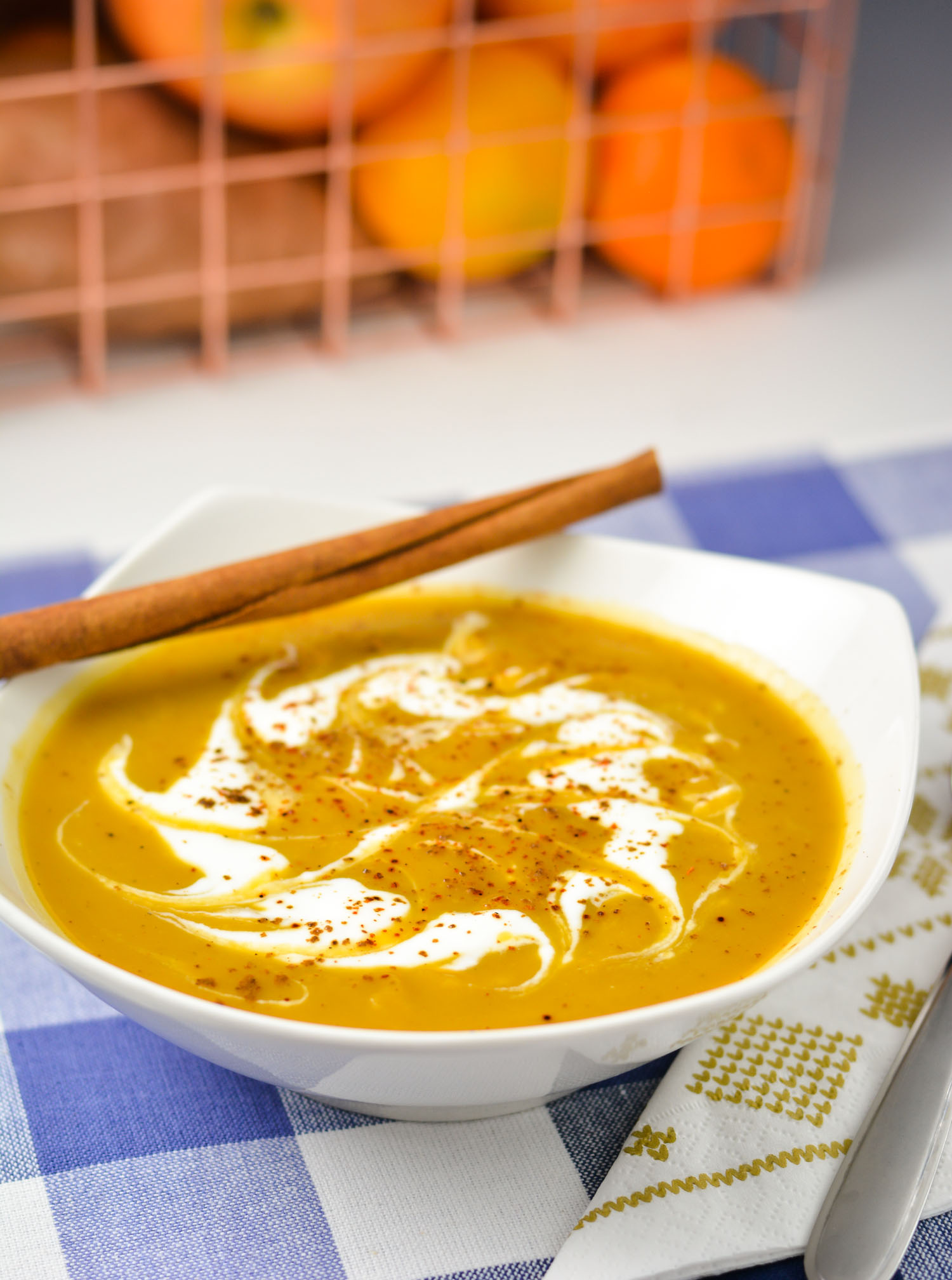 This Silky Butternut Squash Soup is my take on Panera Bread's Autumn Squash Soup! THM E; low fat; no sugar added; gluten, egg, dairy, and nut free options.