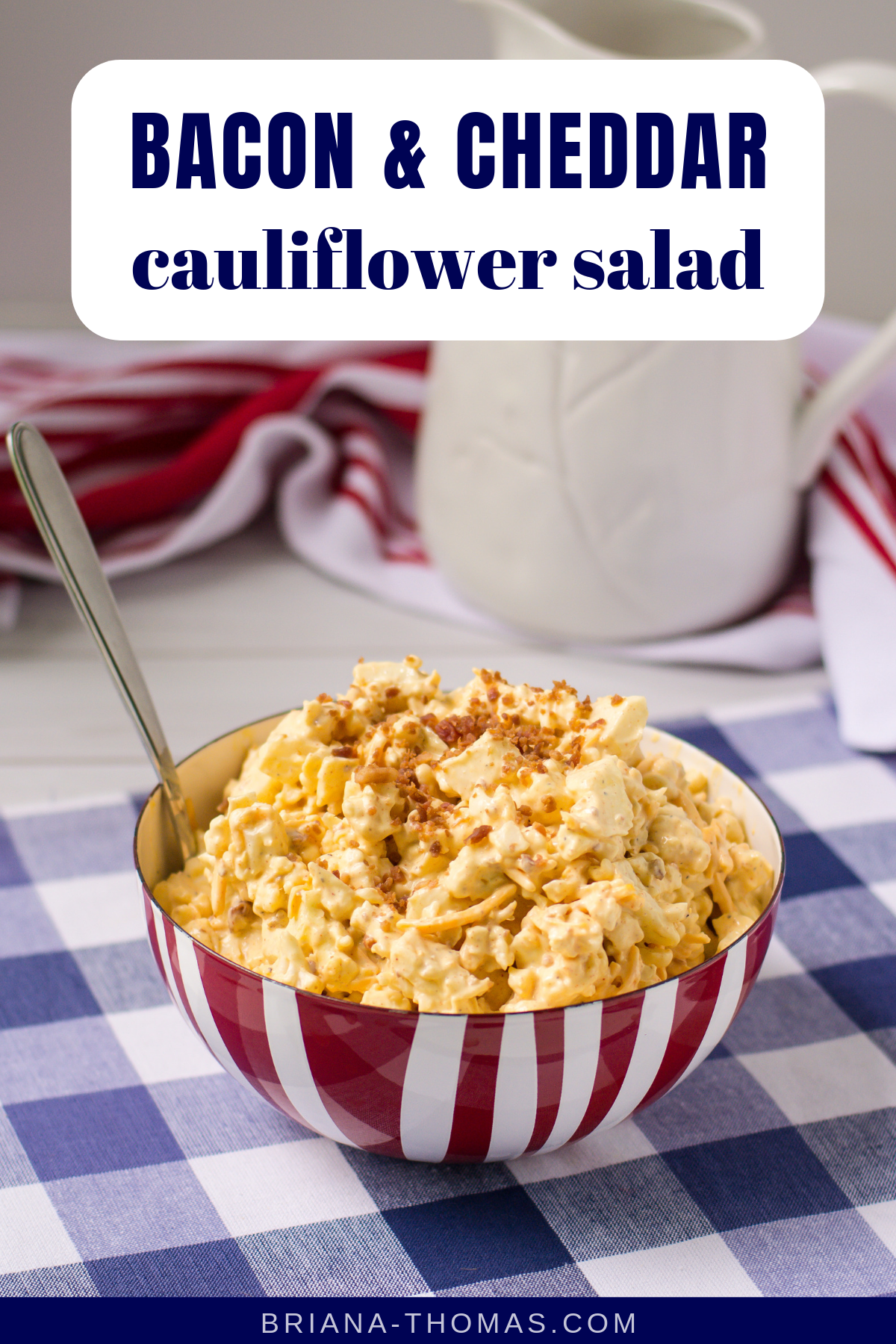 Bacon & Cheddar Cauliflower Salad - THM S, low carb, sugar free