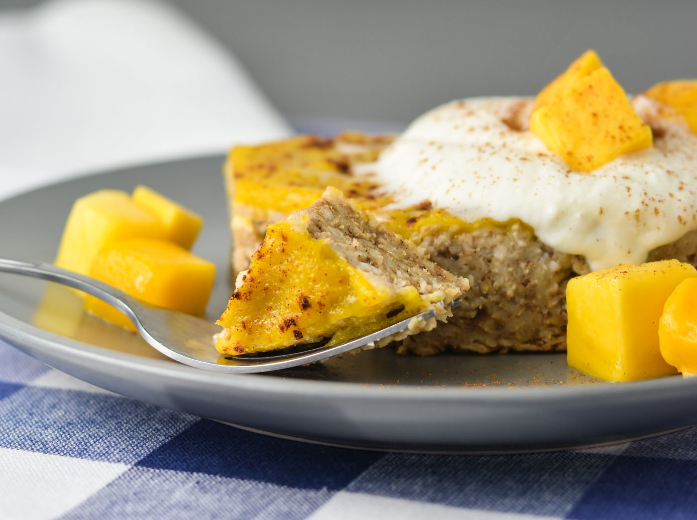 Mango Baked Oatmeal (Or Mango Ginger Cardamom Oat Cake, if you prefer) | THM E, No Sugar Added, Low Fat, Gluten Free, Dairy Free