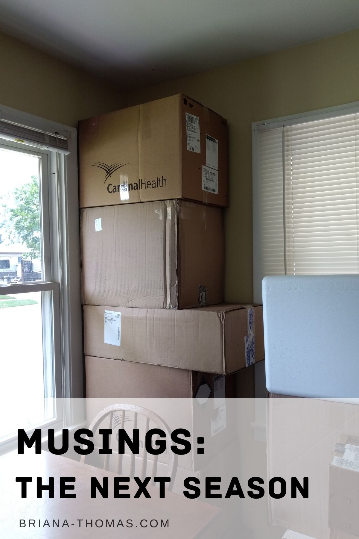 picture of pile of moving boxes stacked to the ceiling in my kitchen