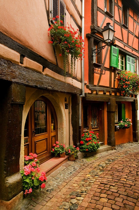 Cobblestone Street, Alsace, France