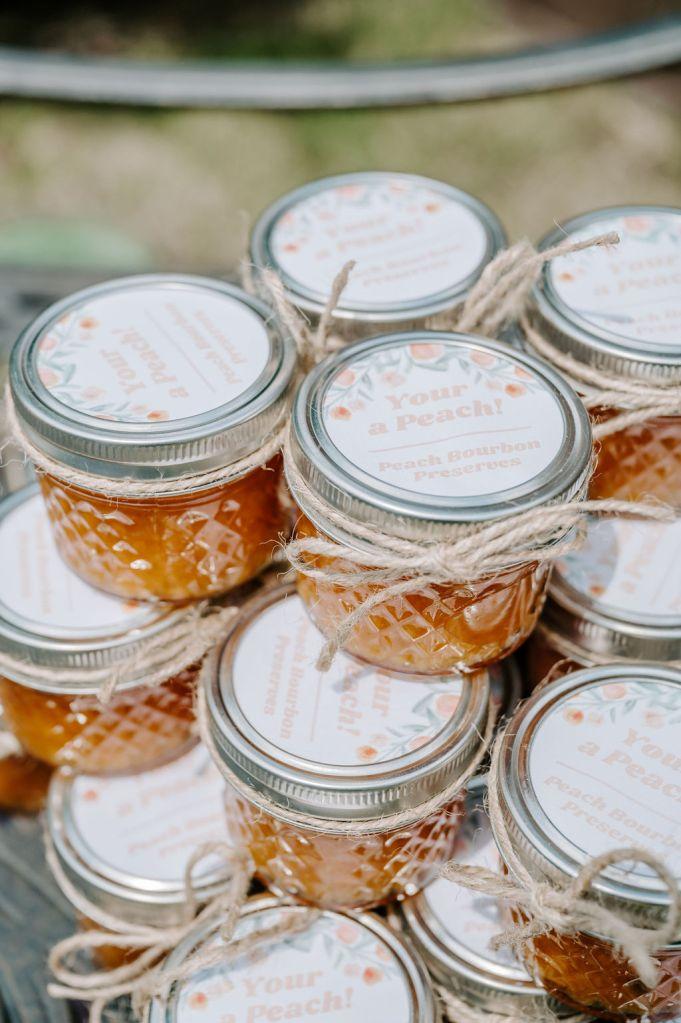 peach bourbon preserves party favors in mason jars