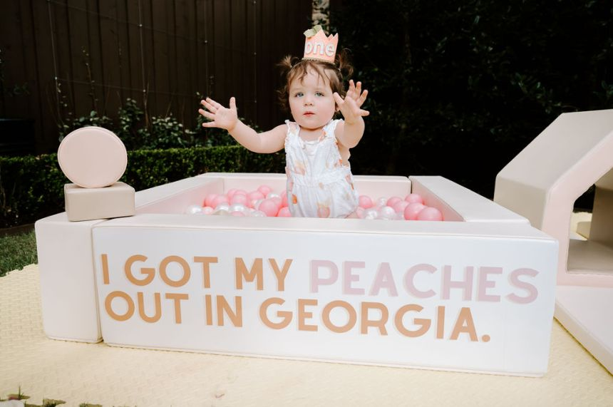 i got my peaches out in Georgia ball pit one sweet peach first birthday