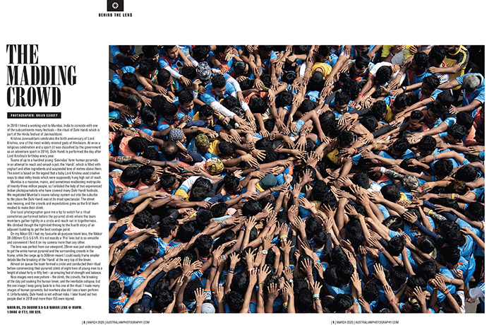 Image of Dahi Handi in Mumbai published Australian Photography magazine - 'Behind the Lens' ... image by Brian Cassey