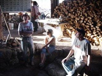 Bendel telling stories at the lighting of the kiln