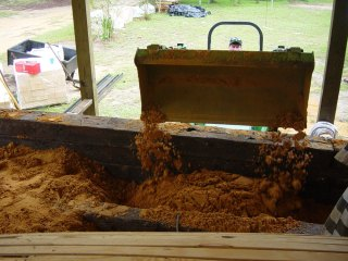 backfilling earth around kiln