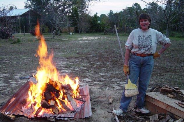 Brenda Stokes making ash for glazes