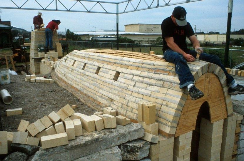 Jake Allee working on brick arch