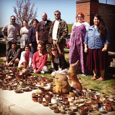 Me with my students after a wood kiln unloading