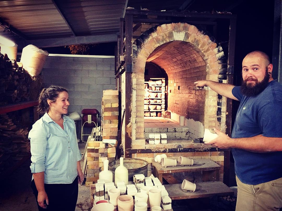 Loading the wood kiln with Sam Chumley and Abby Peacock