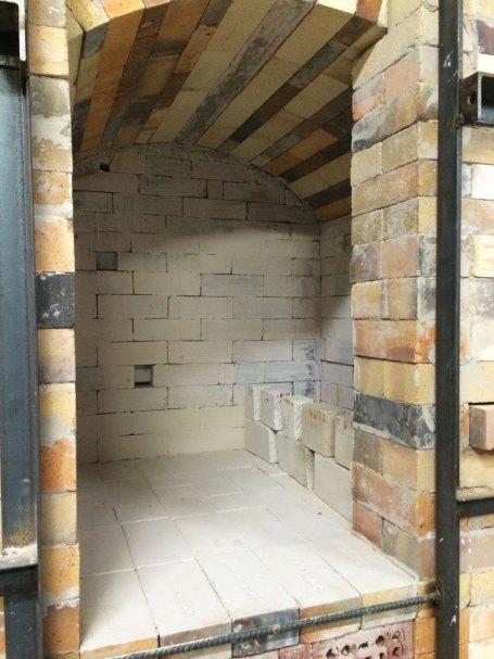 Soda kiln - arch form removed, washing inside