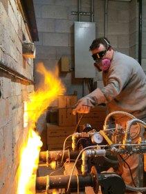 Soda kiln - first firing, putting soda in