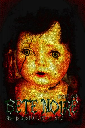 Horror magazine cover, featuring a creepy doll with a vertical crack across one concerned blue eye.