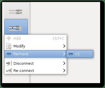 remove crossover cable menu command