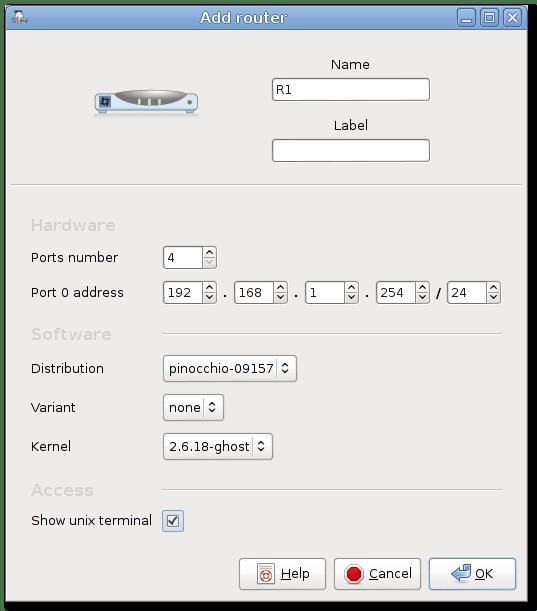 Marionnet Add Router dialogue box
