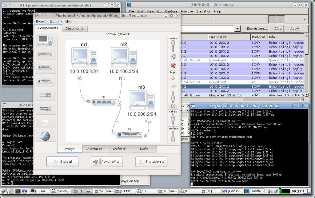 Marionnet Linux network simulator emulator
