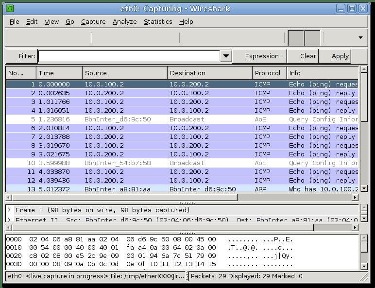 wireshark marionnet linux network simulator