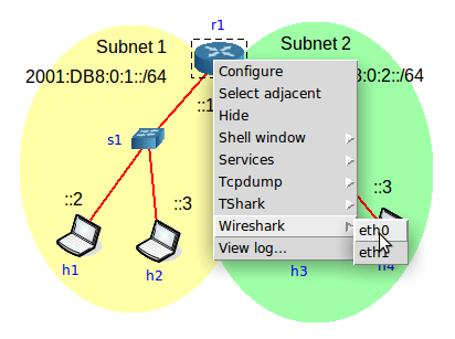 Start Wireshark on both router interfaces, eth0 and eth1