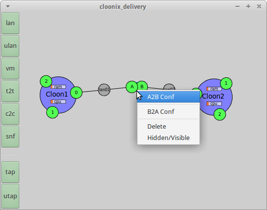 Create two-node network with t2t between the nodes