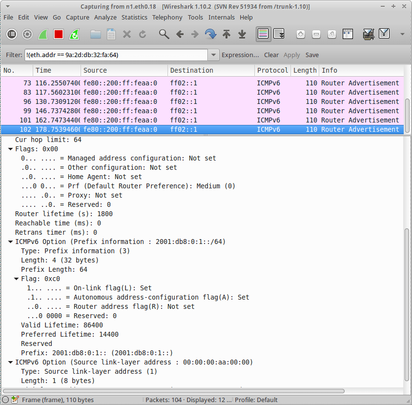 Wireshark capture of Router r1 interface