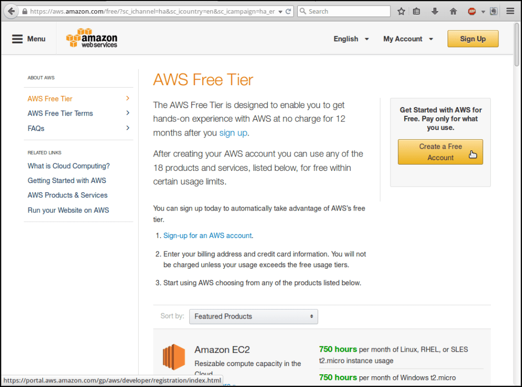 amazon web services free trial