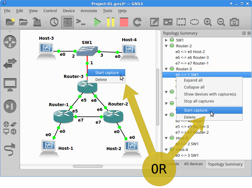 Start data capture by right-clicking the link in either the network view or the Topology Summary dock