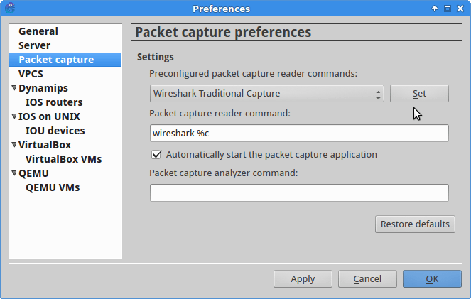 GNS3 default data capture preferences