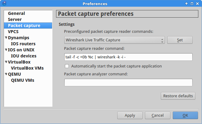 Recommended packet capture preference settings