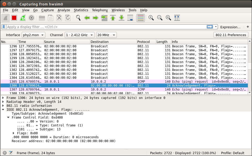 Wireshark capturing WiFi control traffic
