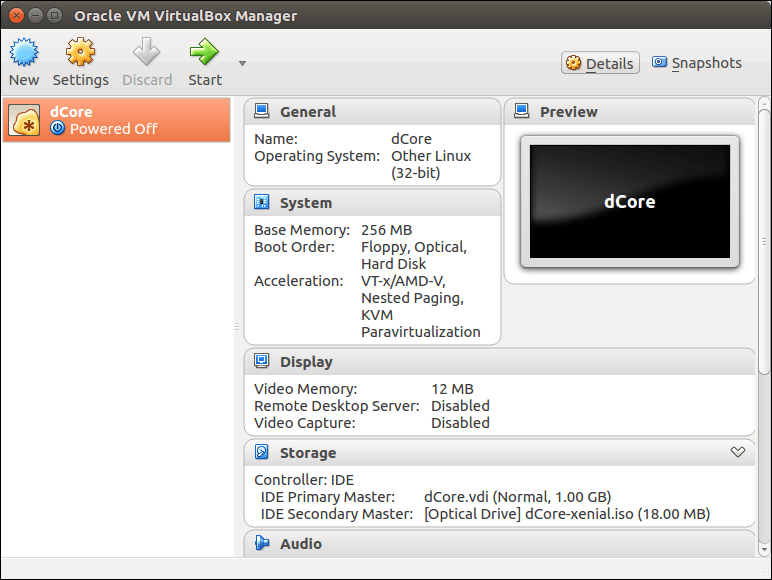 dCore VM ready to boot from CDROM