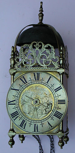 Lantern clock of about 1710 signed 'Wm. Monke fecit'