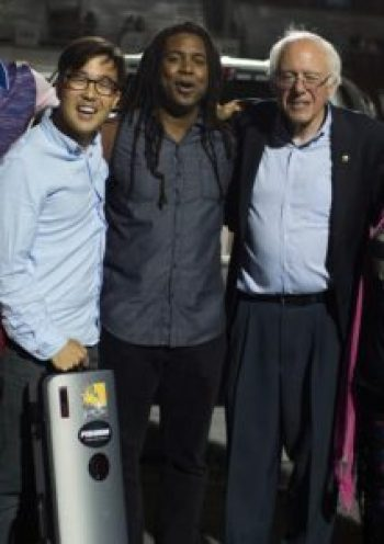 With Bernie Sanders and Joe Kye